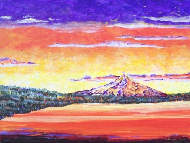 Art: Mt Hood on Fire 3 11   Copy by Artist Leonard G. Collins