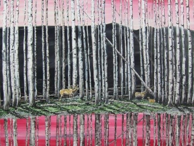 Art: Elk in Alder Trees by Artist Leonard G. Collins