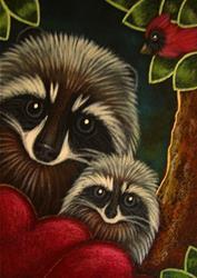Art: RACCOONS & CARDINAL BIRD VALENTINES HEARTS by Artist Cyra R. Cancel