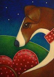 Art: FANTASY GREYHOUND DOG with VALENTINES HEART by Artist Cyra R. Cancel