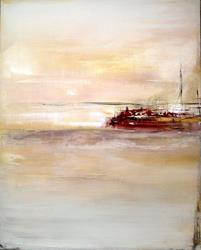 Art: Elle abstract 055 2424 GW Original abstract painting Between The Sunrise 1 by Artist Thomas C. Fedro