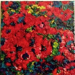 Art: Encaustic Flower Abstract by Artist Ulrike 'Ricky' Martin