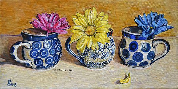 Art: Colored Daisies: Polish Pottery LXXXVII by Artist Heather Sims