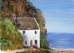 Art: Cottage by the Sea ACEO by Artist Janet M Graham