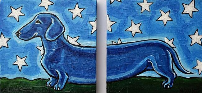 Art: Dachshund and Stars by Artist Melinda Dalke