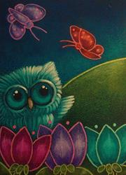 Art: SPRING TINY OWL WITH BUTTERFLIES & FLOWERS by Artist Cyra R. Cancel