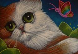 Art: SPRING BICOLOR PERSIAN CAT WITH A RAINBOW BUTTERFLY by Artist Cyra R. Cancel