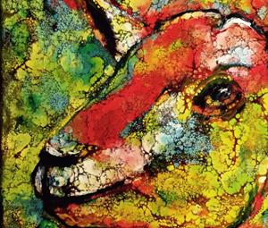 Detail Image for art Abstract Goat Portrait - sold