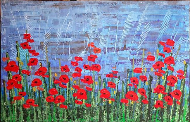 Art: Red Poppies 155 by Artist Luba Lubin
