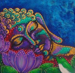 Art: BUDDHA IN MY GARDEN AND A HUMMINGBIRD 5 X 5 by Artist Cyra R. Cancel