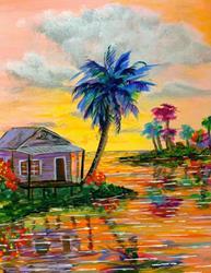 Art: Tropical Island Palm House by Artist Ke Robinson