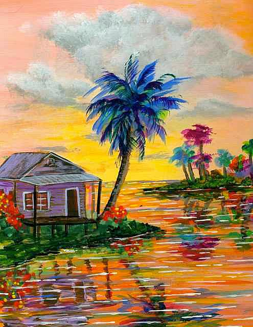 Art: Tropical Island Palm House by Artist Ke Robinson