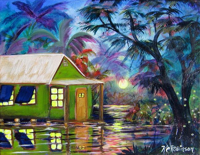 Art: Tropical Moonlit Bay House SOLD by Artist Ke Robinson
