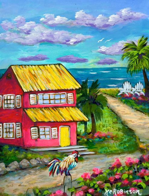 Art: Key West Beach Walk by Artist Ke Robinson