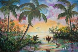 Art: Anhinga Sunrise-SOLD by Artist Ke Robinson