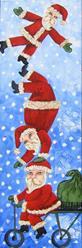 Art: Tumbling Santas by Artist Ke Robinson