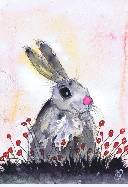 Art: HARE IN FLOWERS h2035 by Artist Dawn Barker