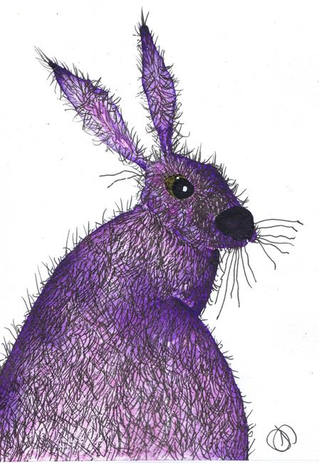 Art: HARE VIOLET h3029 by Artist Dawn Barker