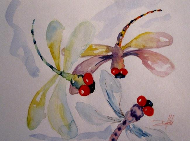 Art: Three Dragonflies by Artist Delilah Smith