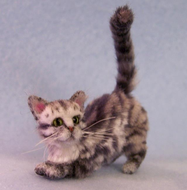 Art: Silk Furred Silver Tabby Cat by Artist Camille Meeker Turner