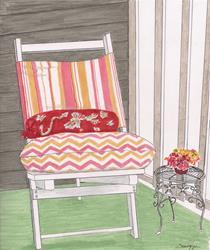 Art: BEACH CHAIR, SANS BEACH -- $135 incl. shipping by Artist Jayne Somogy