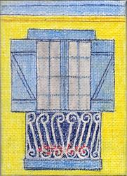 Art: BLUE SHUTTERS, YELLOW WALL -- $25 incl. shipping & wood easel by Artist Jayne Somogy