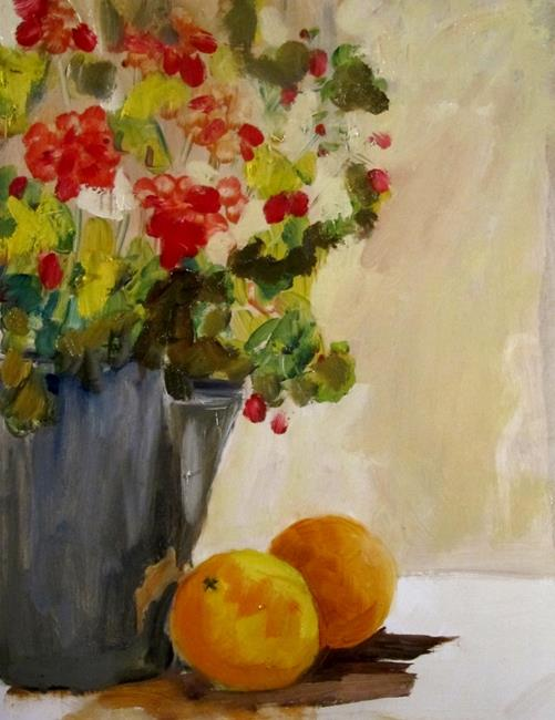 Art: Coffee Pot and Geraniums by Artist Delilah Smith