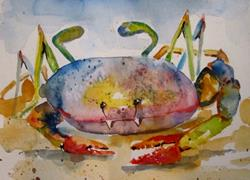 Art: Colorful Blue Crab by Artist Delilah Smith