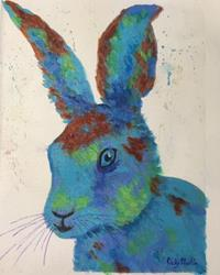 Art: Abstract Bunny - sold by Artist Ulrike 'Ricky' Martin