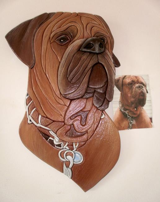 Art: MAXIMUS..Mastiff Original Painted Intarsia Art by Artist Gina Stern