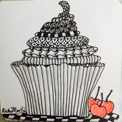 Art: Cupcake - Zentangle Inspired by Artist Ulrike 'Ricky' Martin