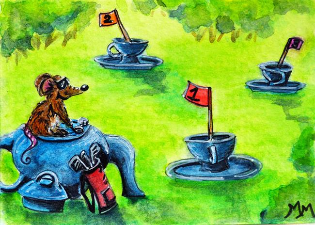Art: Tea Time Golf  (SOLD) by Artist Monique Morin Matson