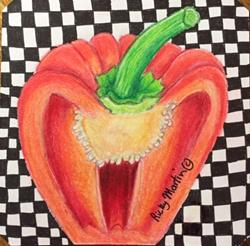 Art: Cut Red Pepper by Artist Ulrike 'Ricky' Martin