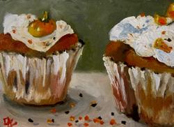 Art: Halloween Cupcakes and Candy by Artist Delilah Smith