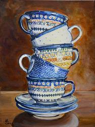 Art: Teacups Stacked: Polish Pottery XCI by Artist Heather Sims