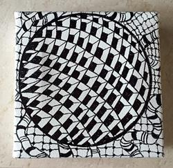 Art: Zentangle Inspired Geometric Painting - sold by Artist Ulrike 'Ricky' Martin