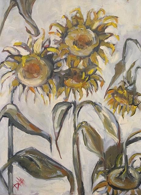 Art: Morose Sunflowers-sold by Artist Delilah Smith