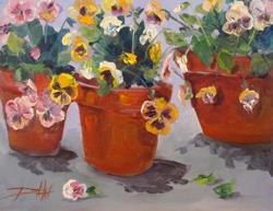 Art: Three Pots of Pansies by Artist Delilah Smith
