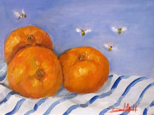 Art: Three Tangerines by Artist Delilah Smith