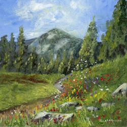 Art: Spring in the Mountains by Artist Janet M Graham