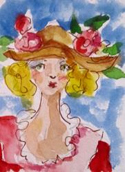 Art: Girl with Hat-sold by Artist Delilah Smith