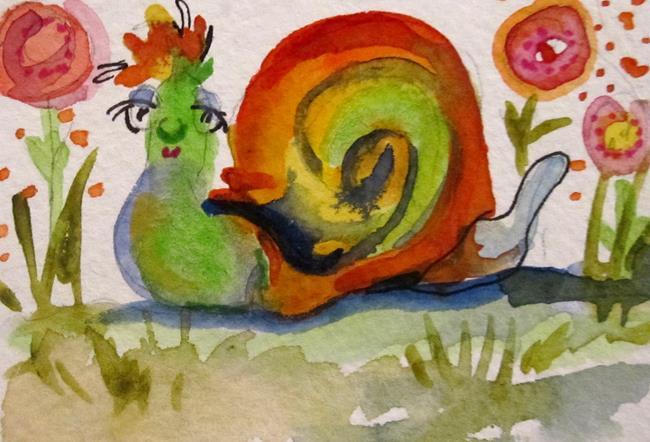 Art: Orange Snail by Artist Delilah Smith