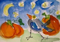 Art: Starry Night Pumpkin by Artist Delilah Smith