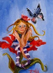 Art: Fairy on Flower-sold by Artist Delilah Smith
