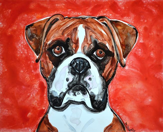 Art: Study of a Boxer in Watercolors by Artist Melinda Dalke