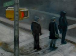 Art: Snowy Pedestrian Crossing by Artist Christine E. S. Code ~CES~