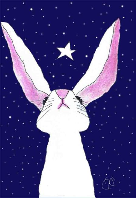 Art: STARGAZING HARE h3046 by Artist Dawn Barker