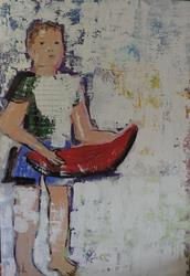 Art: boy with red boat by Artist Nancy Denommee