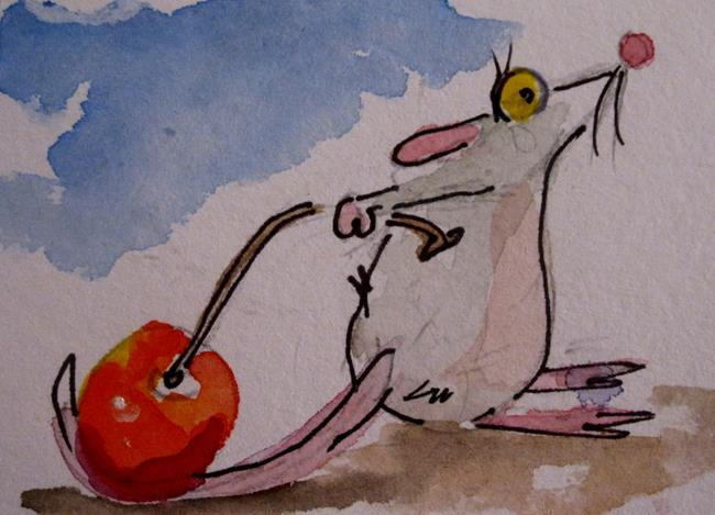 Art: Mouse and Red cherry by Artist Delilah Smith