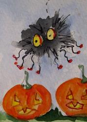Art: Spider and Pumkins by Artist Delilah Smith